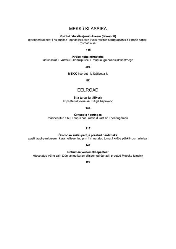 MEKK menu 1/3