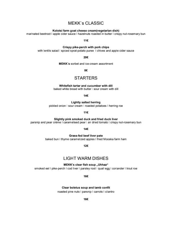 MEKK menu 2/3