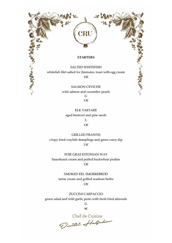 Cru menu 2/6