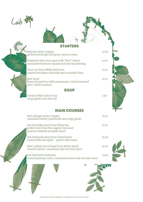Leib Restoran menu 1/2