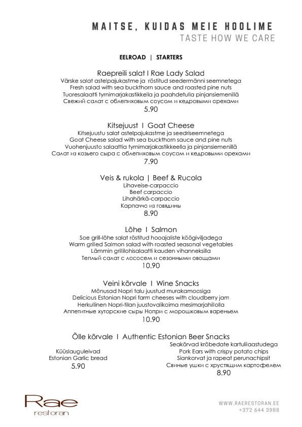 Rae restoran & kohvik menu 1/5