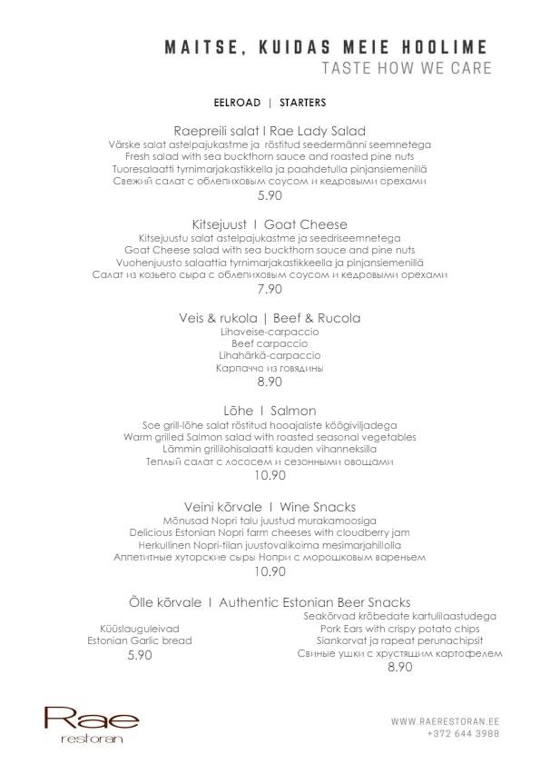 Rae restoran & kohvik menu 4/5
