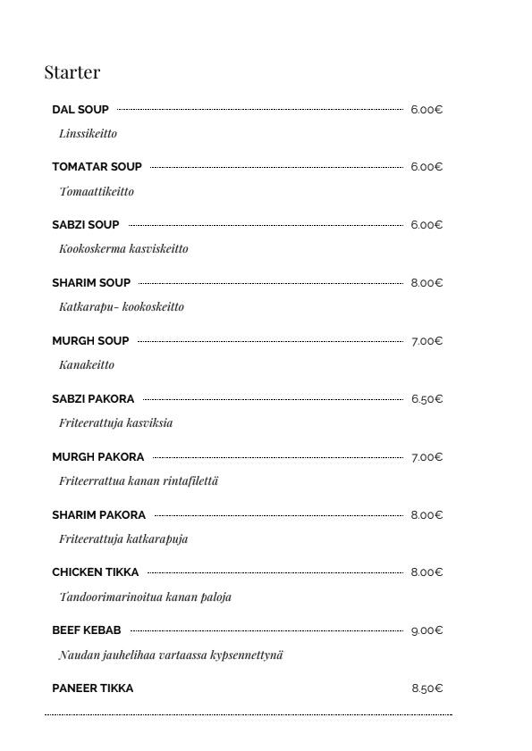 Peshawar menu 5/14