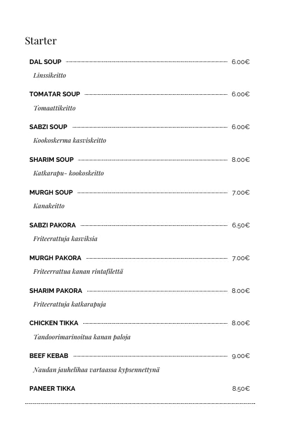 Peshawar menu 8/14