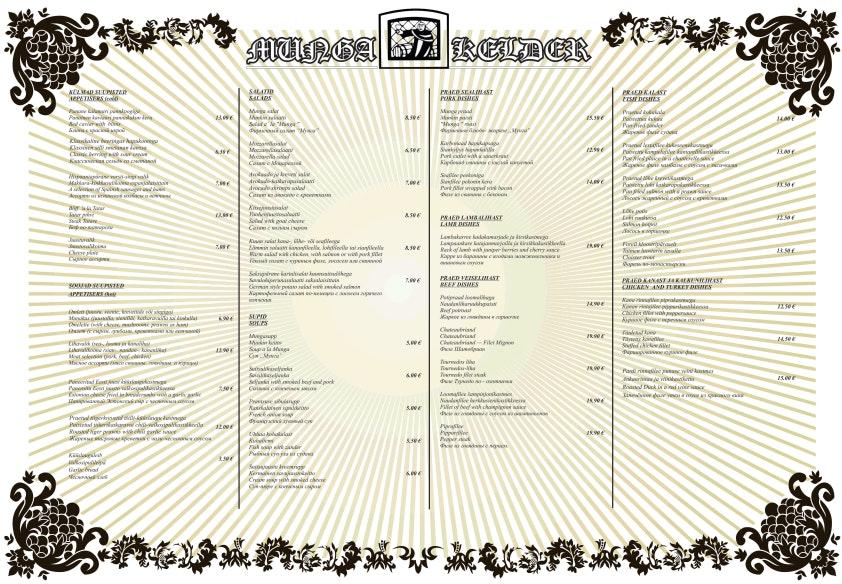 Munga Kelder menu 2/6