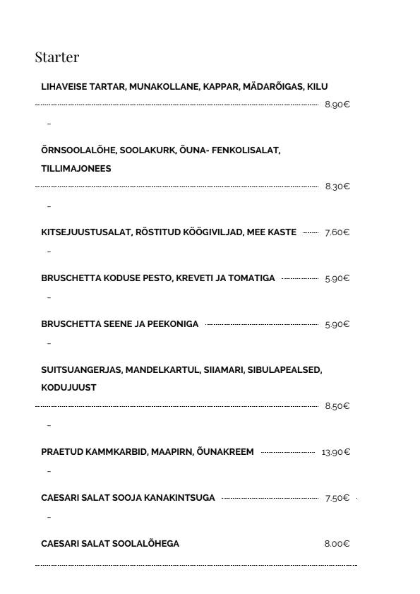 Kalevi Jahtklubi Resto menu 1/5