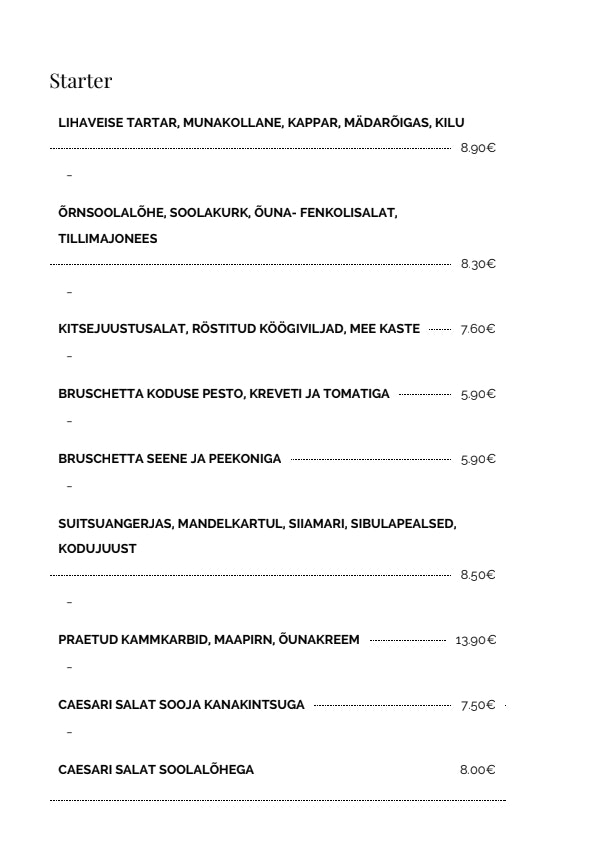 Kalevi Jahtklubi Resto menu 2/5