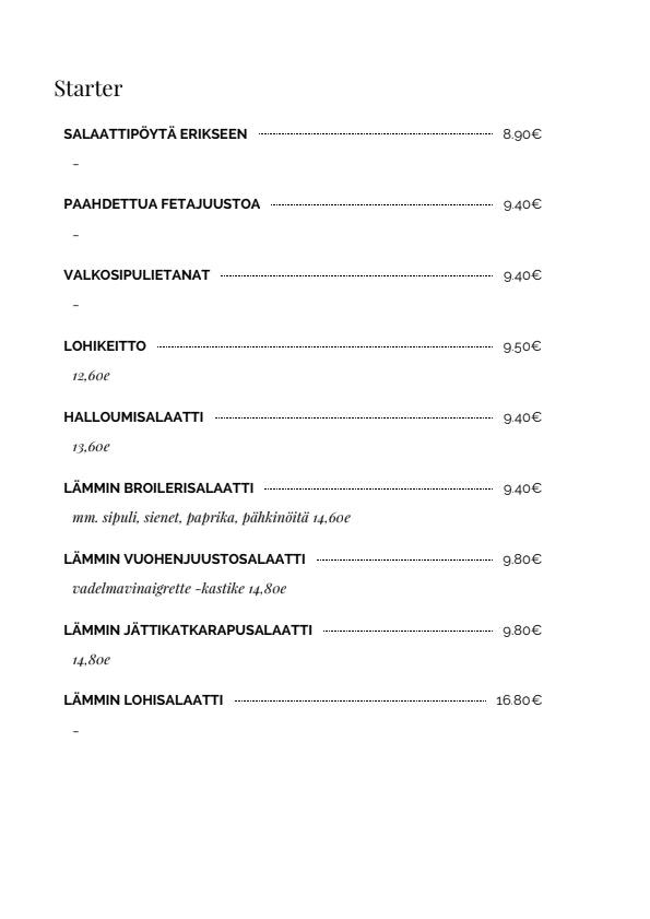Pippurimylly menu 5/9