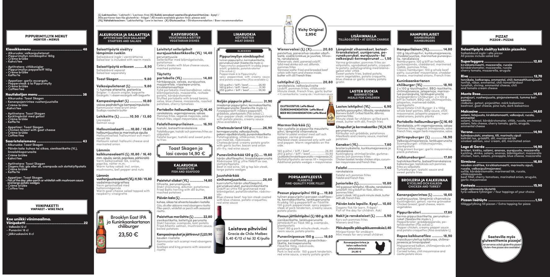 Pippurimylly menu 1/2