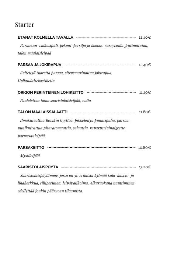 Origo menu 4/5