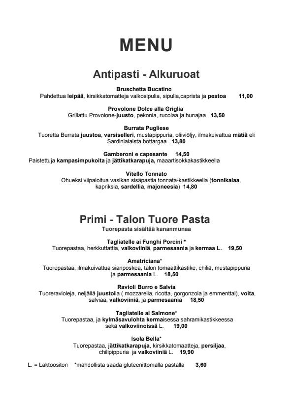 Il Bucatino menu 1/3