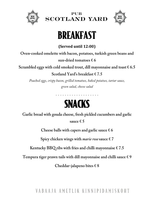 Scotland Yard menu 2/5