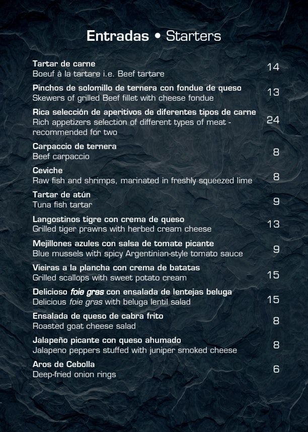 Argentiina menu 3/12