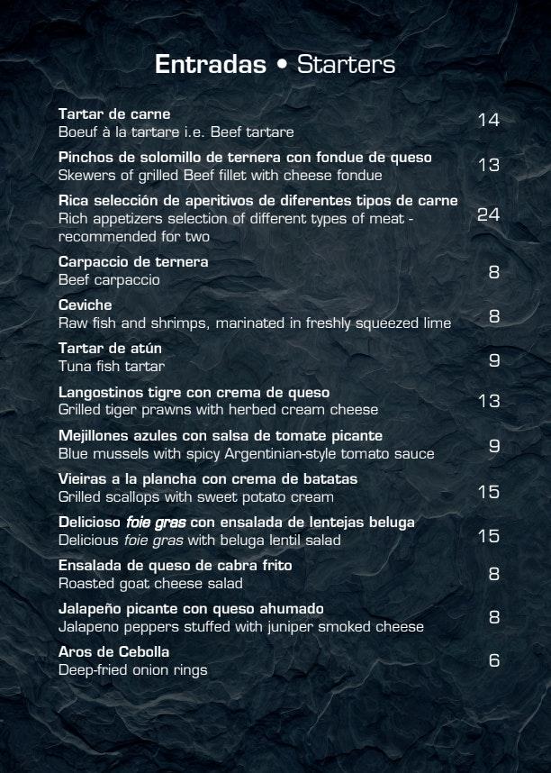 Argentiina menu 5/12
