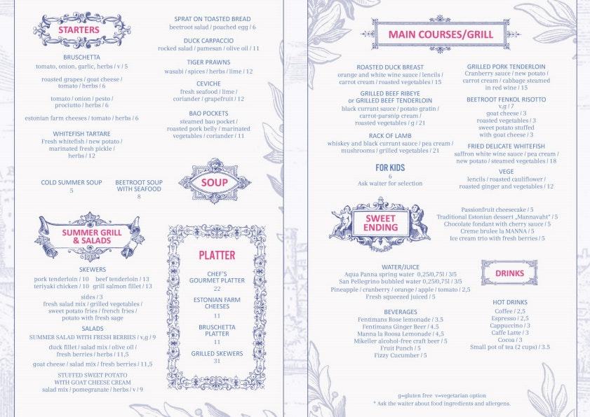 Manna La Roosa menu 1/2