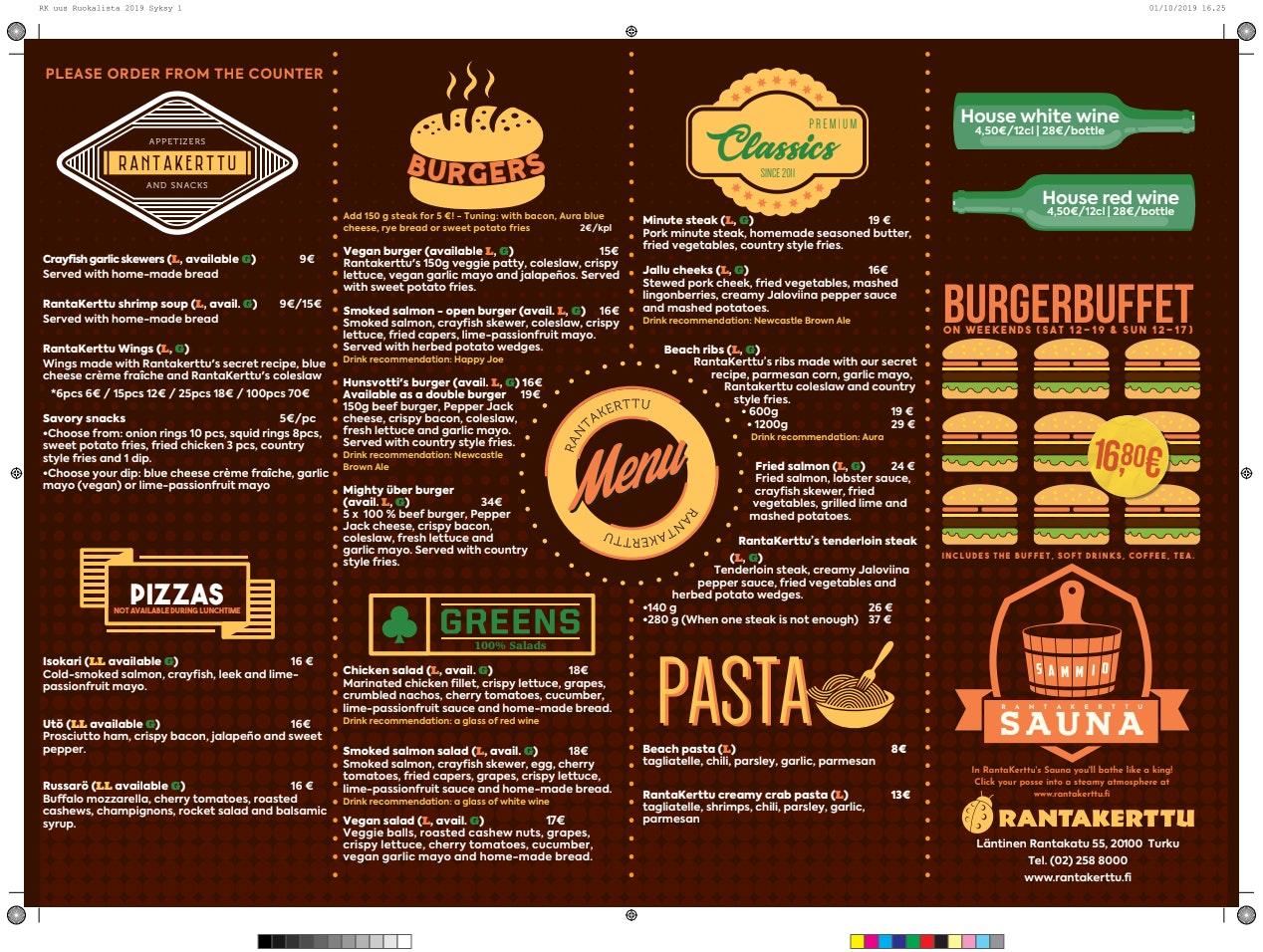 Rantakerttu menu 2/2
