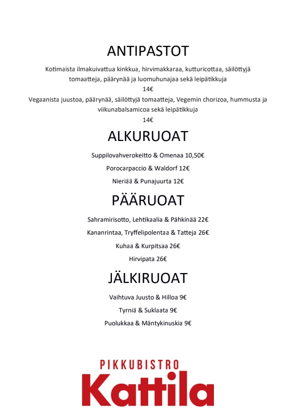 Pikkubistro Kattila menu 1/2