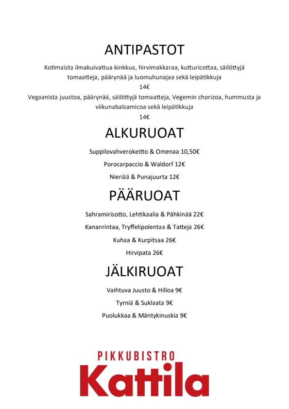Pikkubistro Kattila menu 2/2
