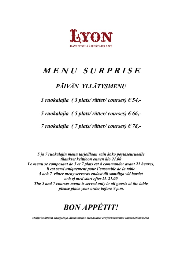 Lyon menu 1/1