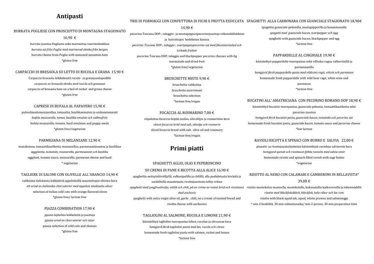 Pjazza menu 1/3