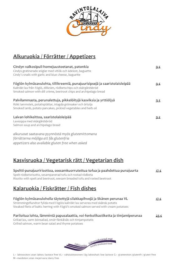 Cindy menu 2/2