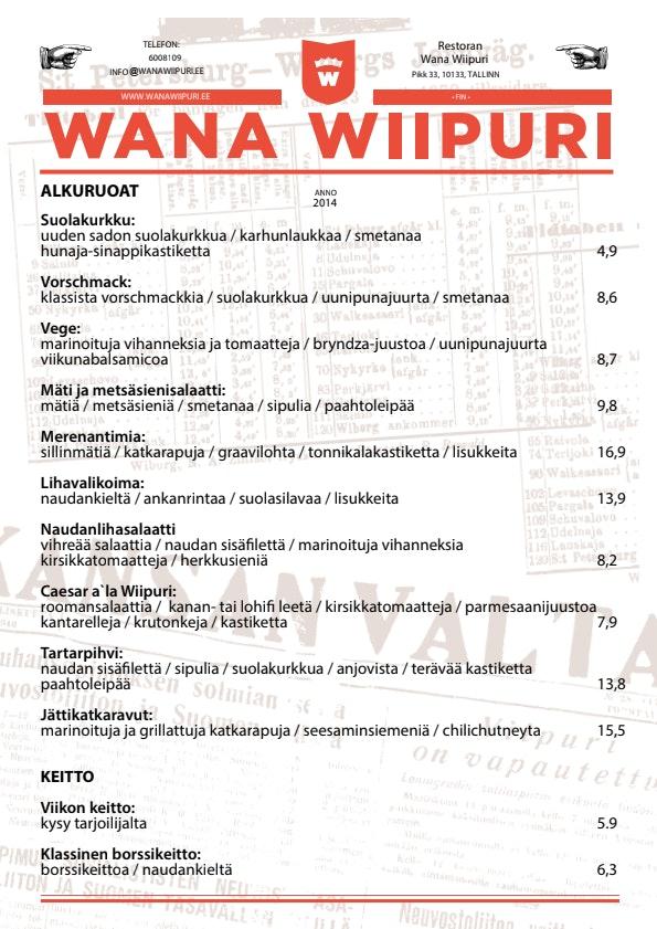 Wana Wiipuri menu 1/3