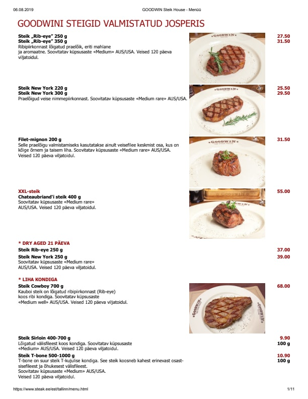 Goodwin Steak House menu 4/6
