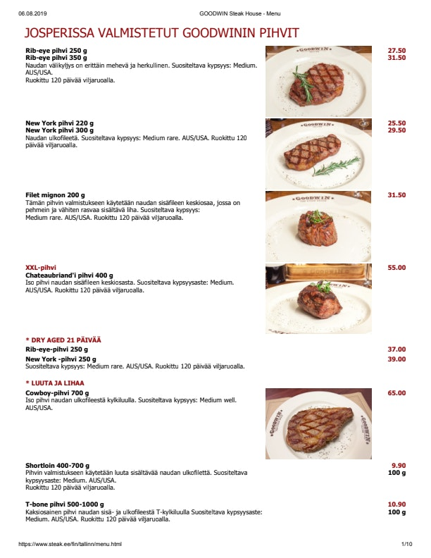 Goodwin Steak House menu 1/6