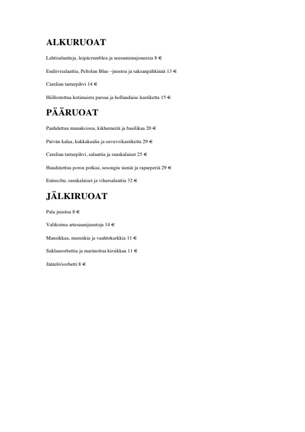 Carelia menu 1/1