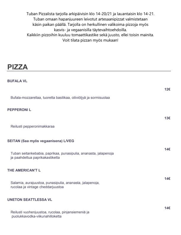 TUBA – Food and lounge menu 6/6
