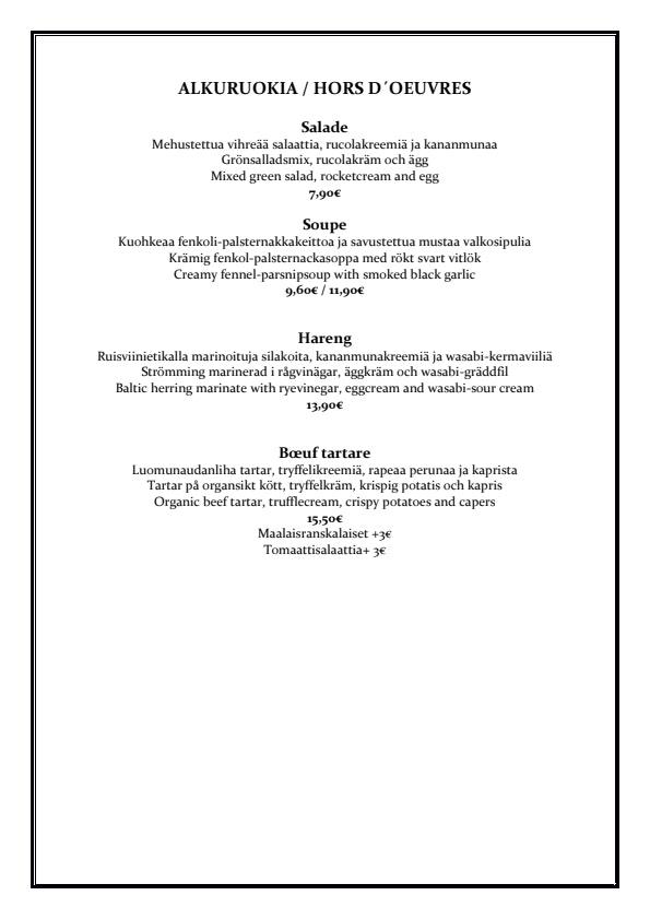 Bistro O mat menu 1/5