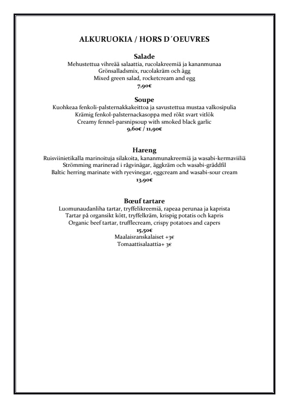 Bistro O mat menu 4/5