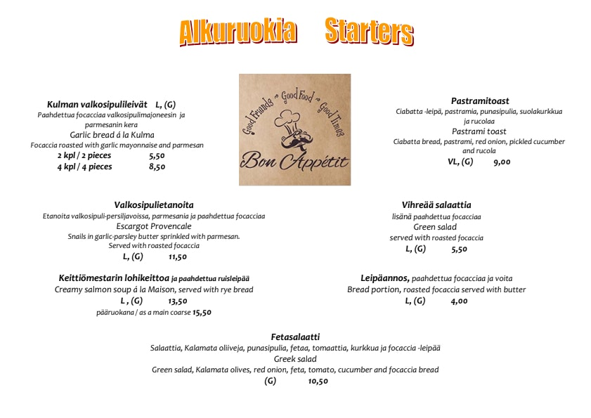 Ravintola Kulma menu 2/6