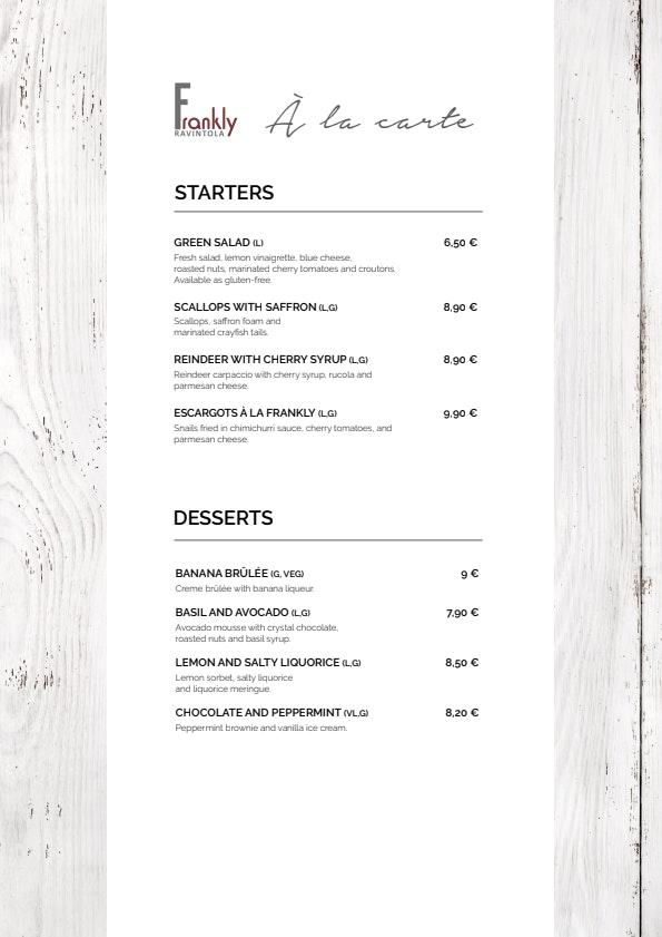 Frankly menu 1/2