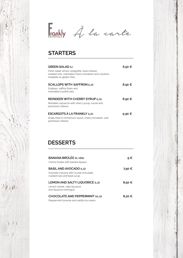 Frankly menu 2/2