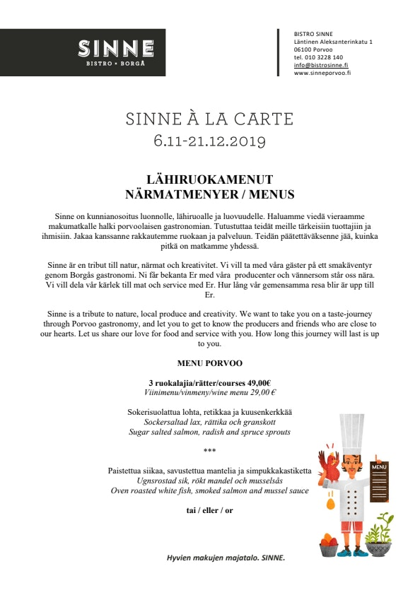 Sinne Porvoo menu 1/2