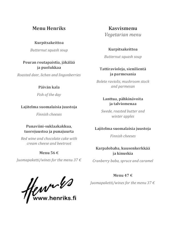 Henriks menu 4/4