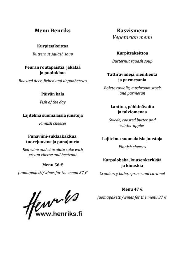 Henriks menu 3/4