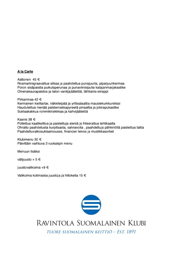 Tampereen Suomalainen Klubi menu 1/3