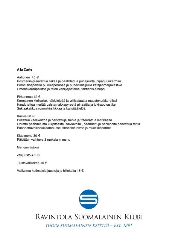 Tampereen Suomalainen Klubi menu 2/3