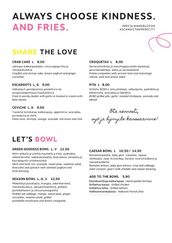 Be Calm & Buzz On menu 1/2
