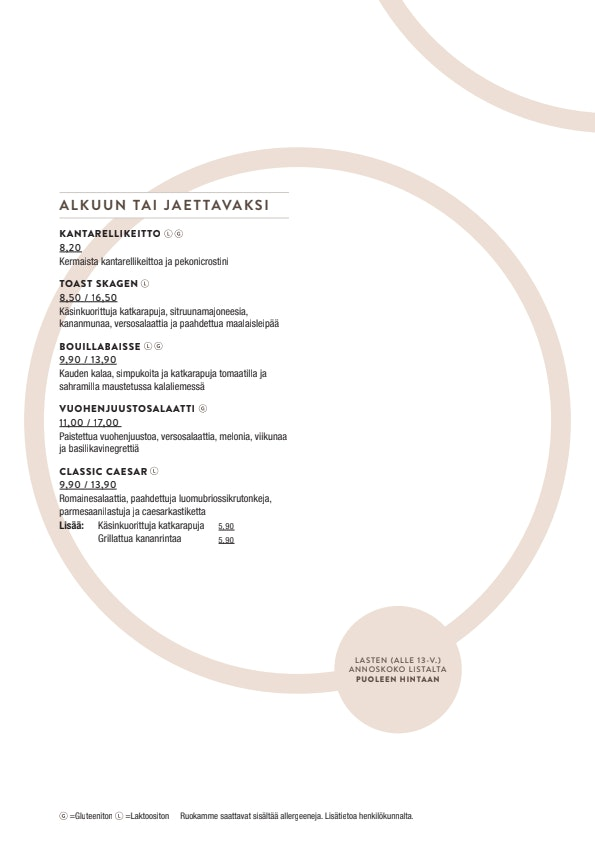 Bistro Julienne menu 2/3