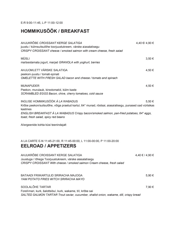 Wabadus menu 2/3