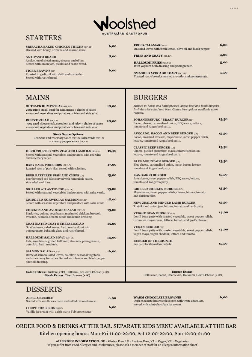 Woolshed Helsinki menu 1/2