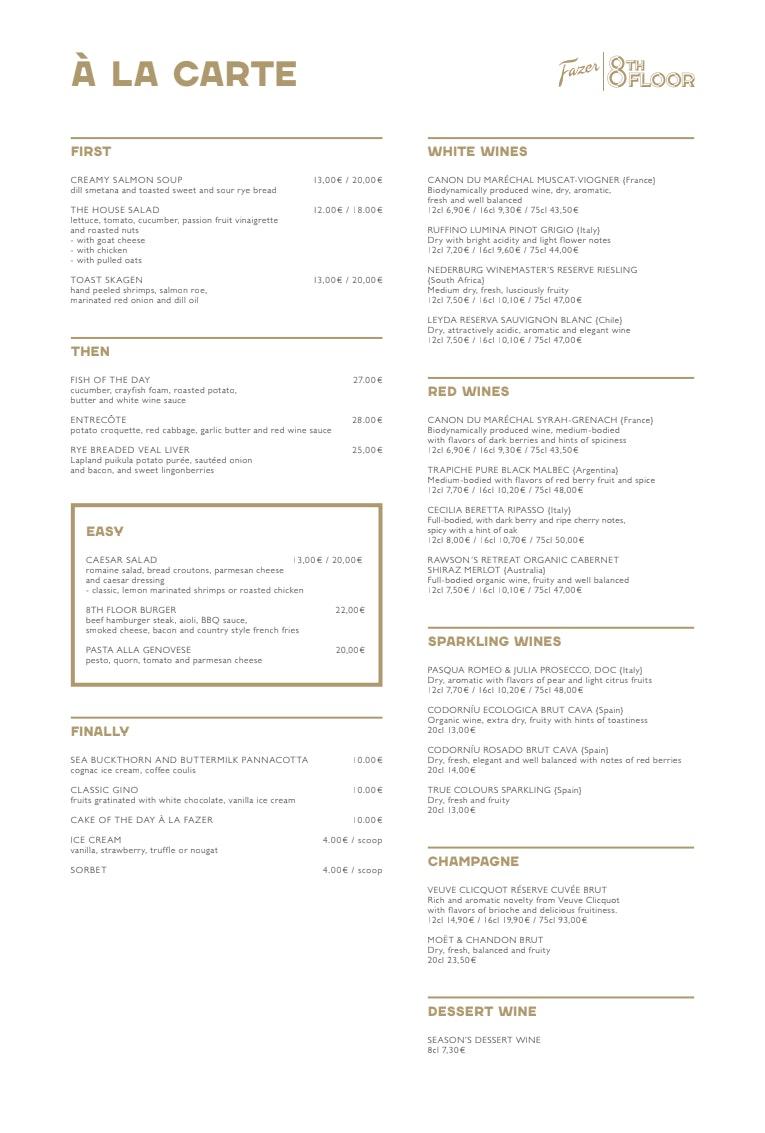 Fazer 8th Floor menu 1/1