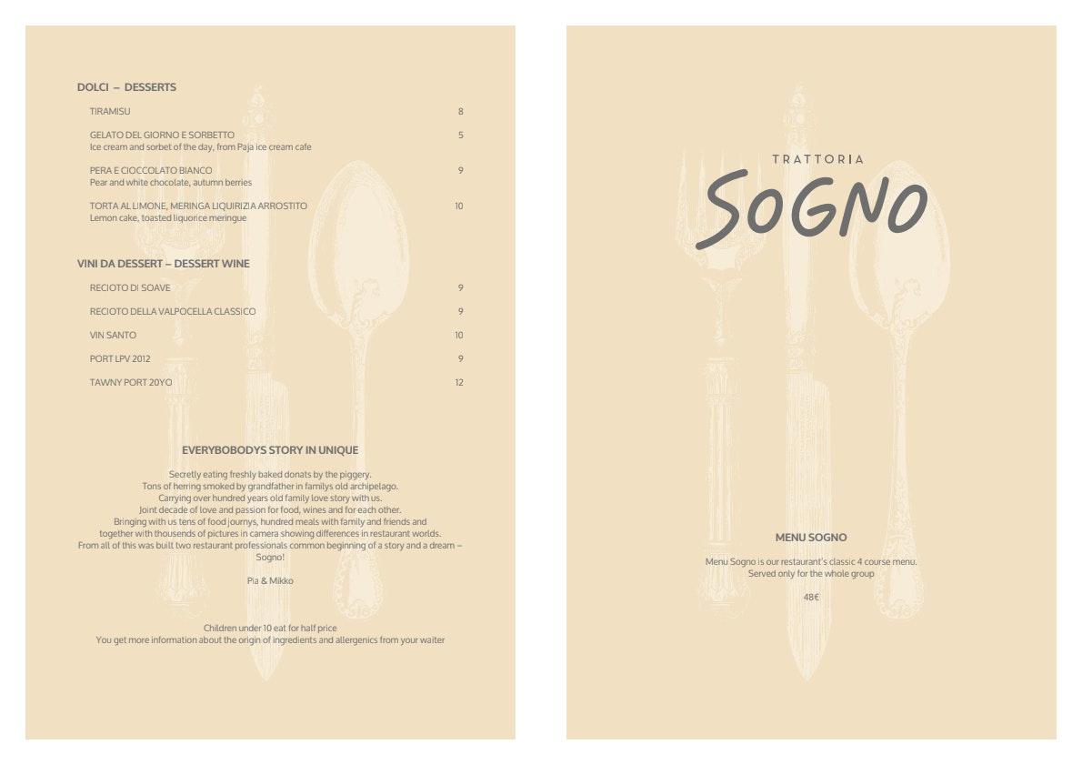 Trattoria Sogno menu 1/3