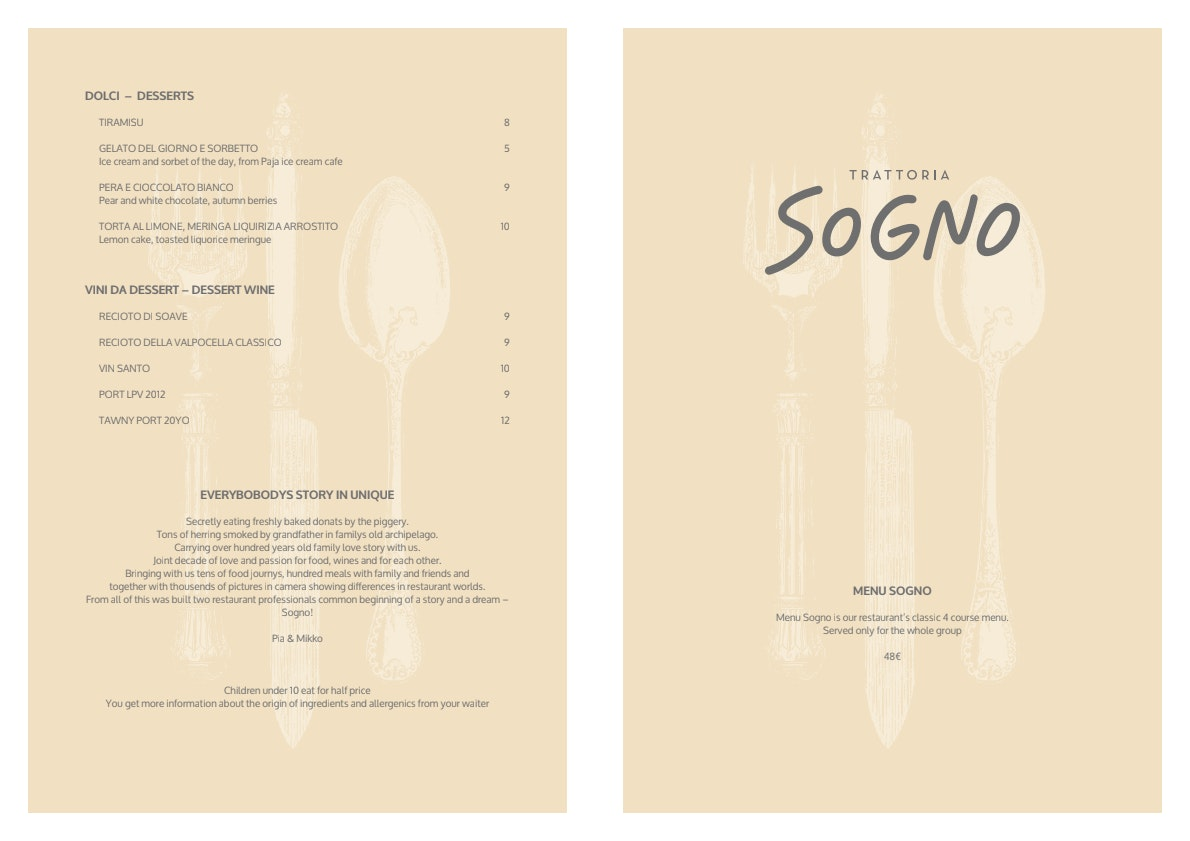 Trattoria Sogno menu 3/3