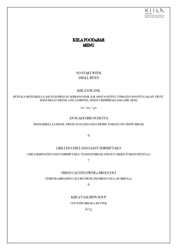 Kiila Food & Bar menu 1/5