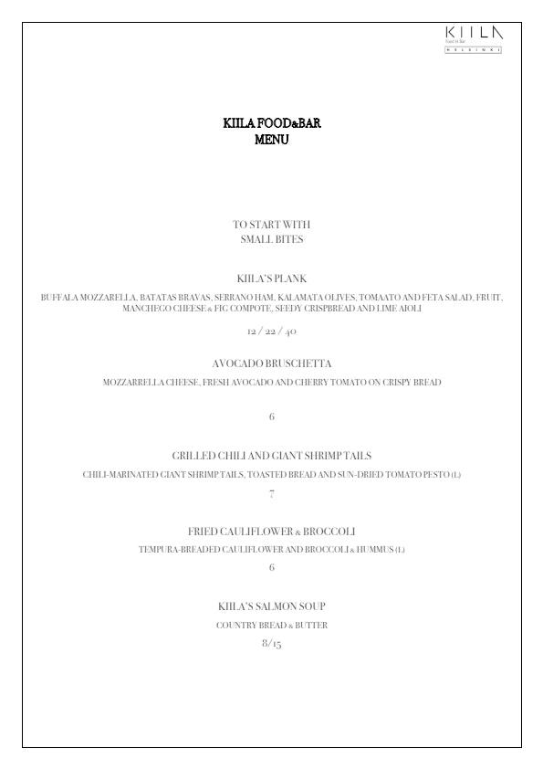 Kiila Food & Bar menu 3/5