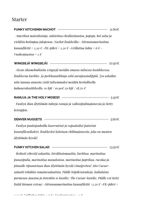 Funky Kitchen menu 1/6